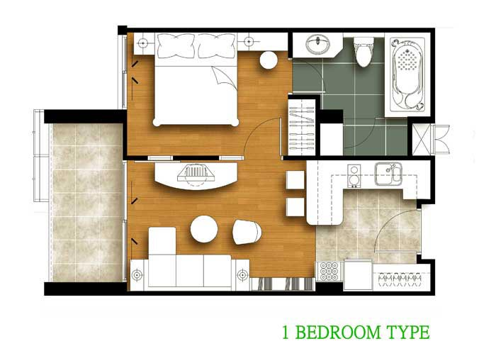 Tira Tiraa 1 Bedroom Floor Plan